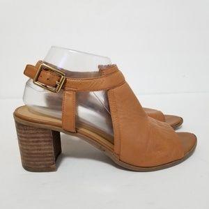 Franco sarto size 8 leather harlet heel sandals